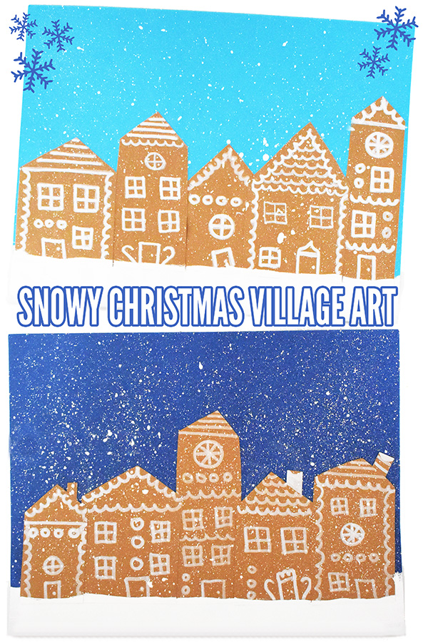 Snowy Christmas gingerbread village art