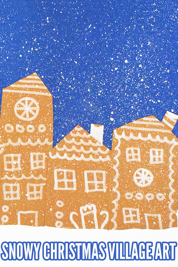 Snowy Christmas village art for school age kids