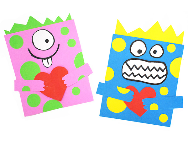 Valentine Love Monster Card Craft for school age kids