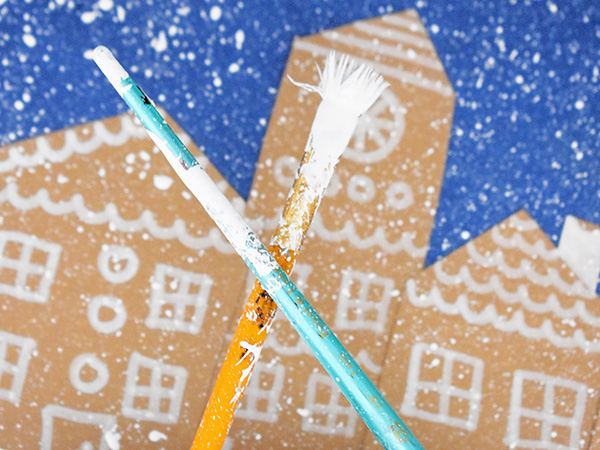 Snowy Christmas Village Art for Kids