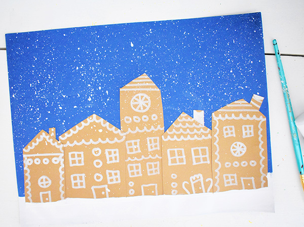 Snowy Day Christmas Village Art for Kids