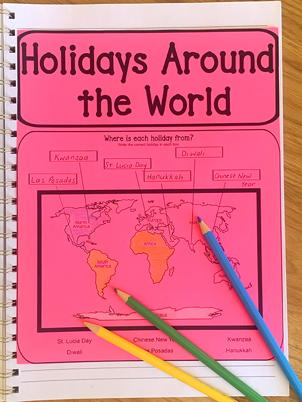 Celebrations around the world for kids interactive notebook