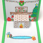 Christmas Mantlepiece Pop Up Card Printable