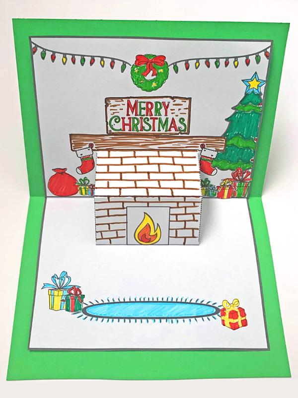 Christmas Mantlepiece Pop Up Card Printable