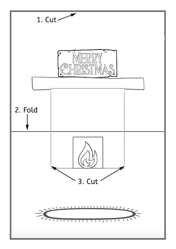 Christmas Pop Up Card Holiday Mantlepiece