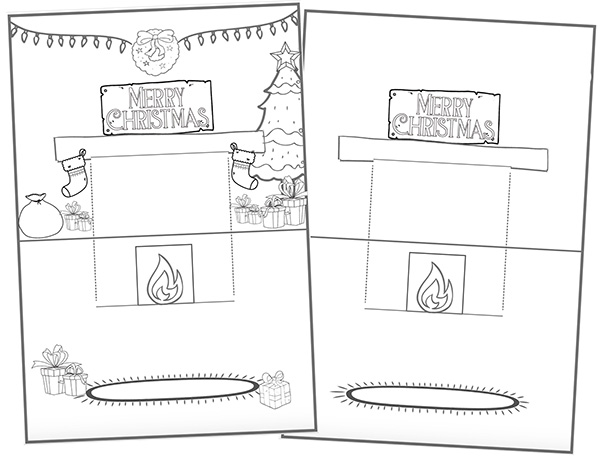 Holiday Mantlepiece Pop Up Card Printable