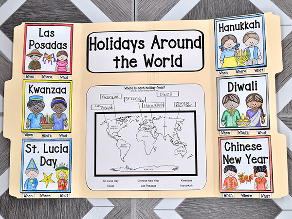 Holidays around the world for kids lap book