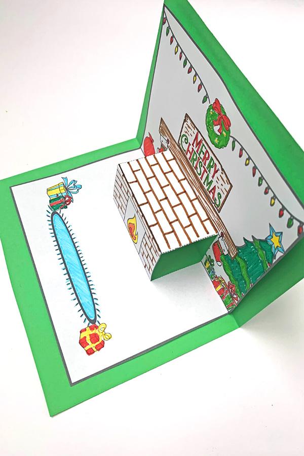 Pop Up Christmas Mantle Card Printable