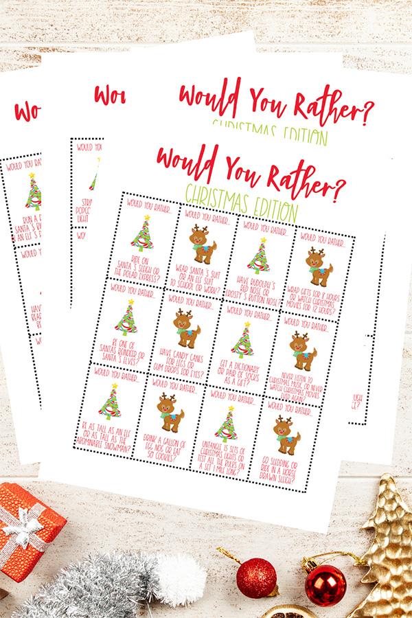 Printable Would You Rather Christmas game