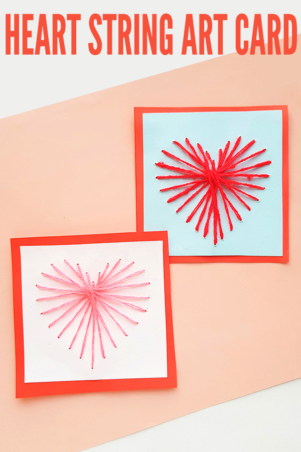 Heart string art card craft for school age kids