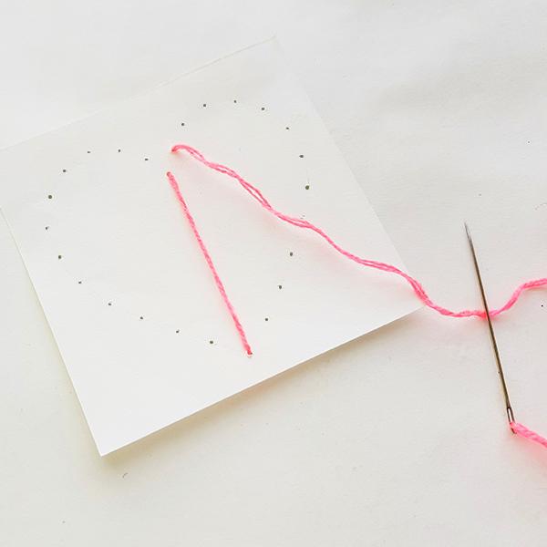 Heart string art card