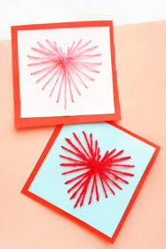 String art heart card craft for school age kids