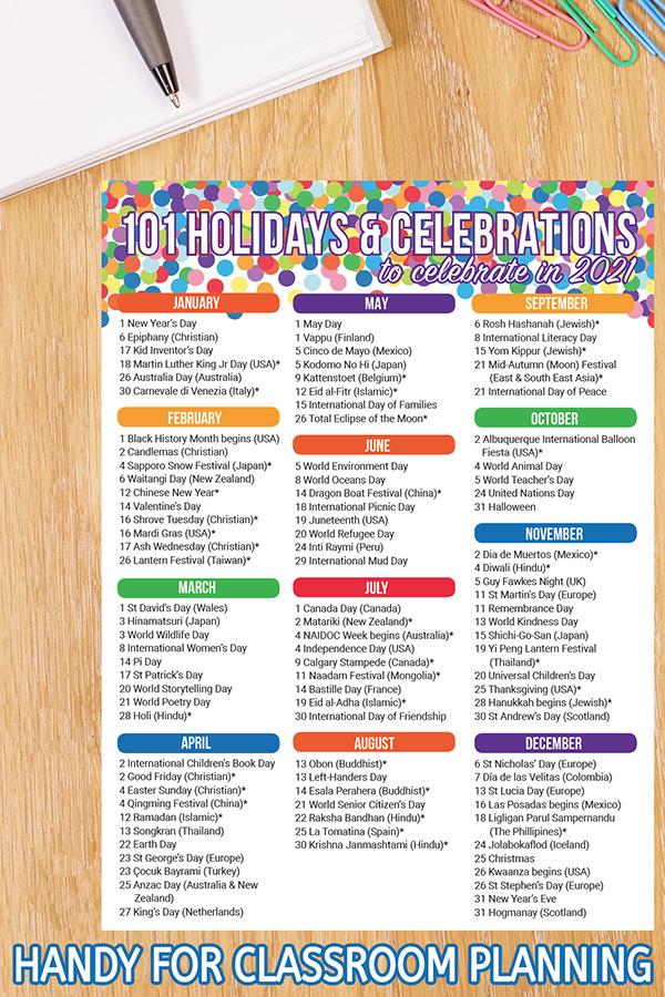 Celebrations Around the World Calendar 2021