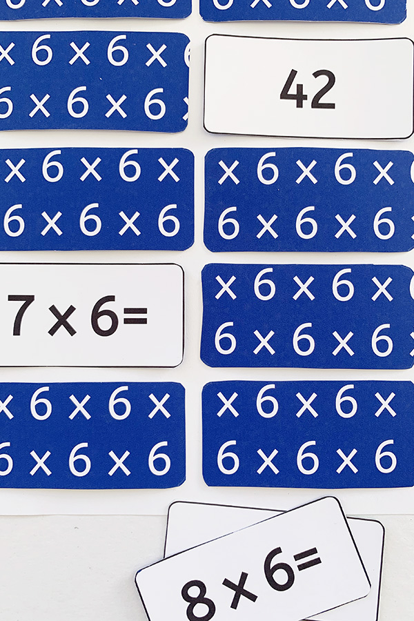 Multiplication matching game printable
