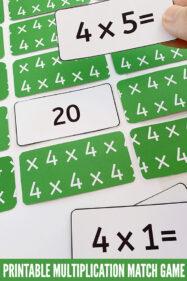 Multiplication memory matching game printable