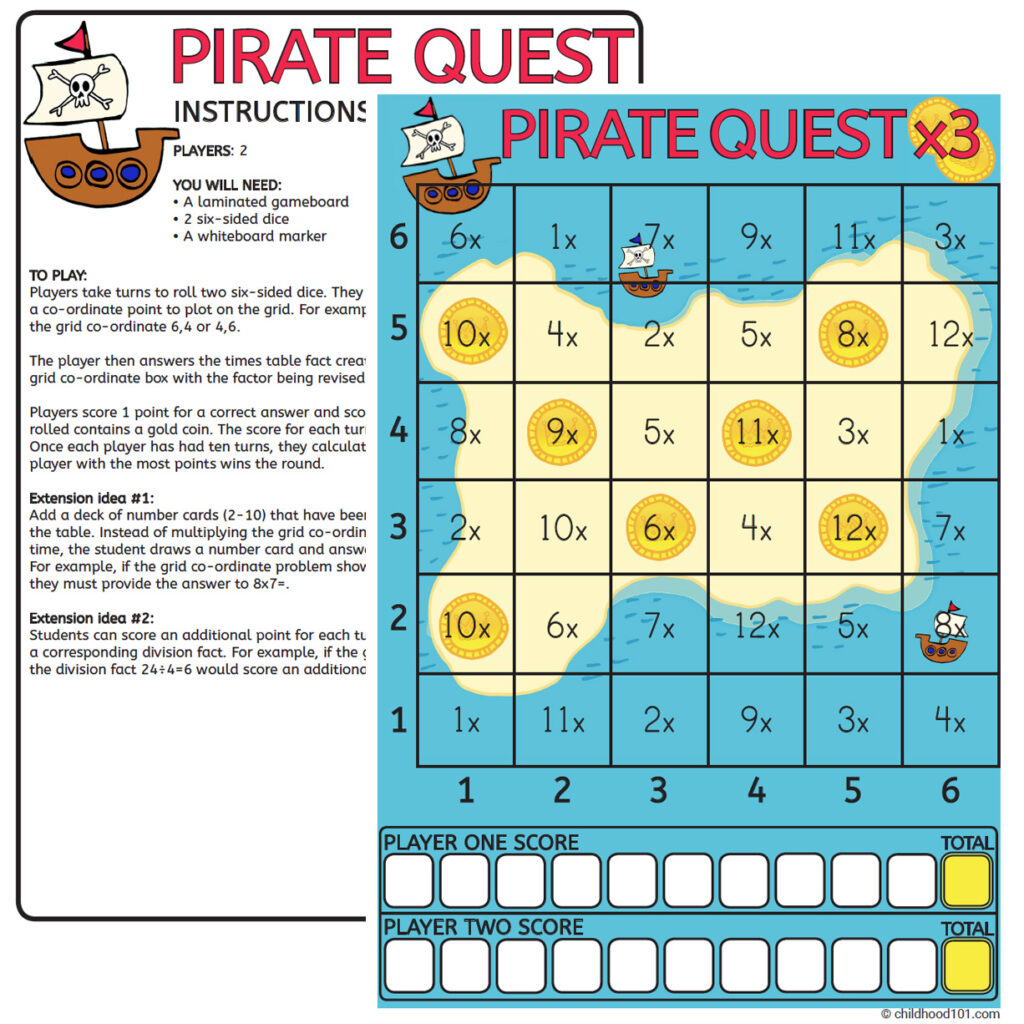 Pirate quest multiplication game printable