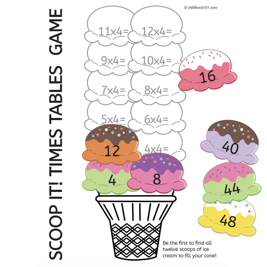 Scoop it times tables game
