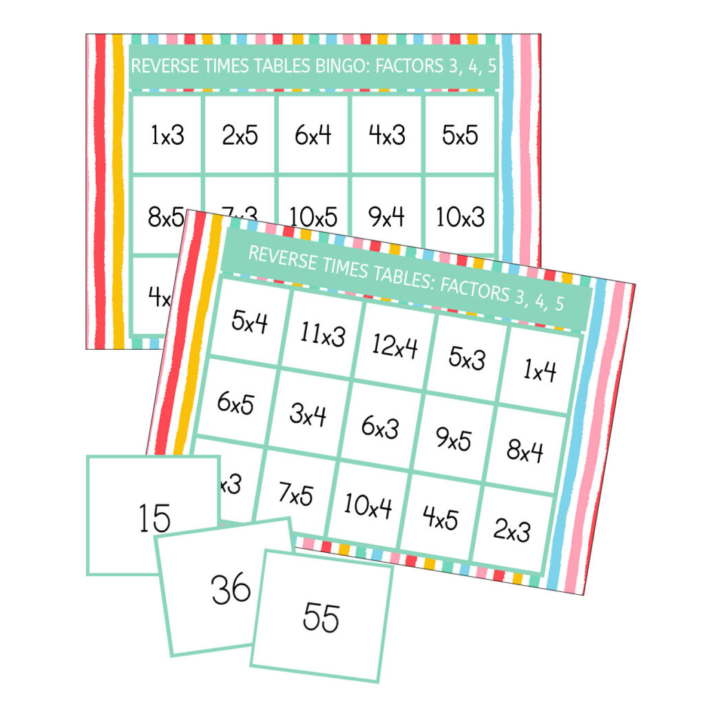 Reverse bingo multiplication game