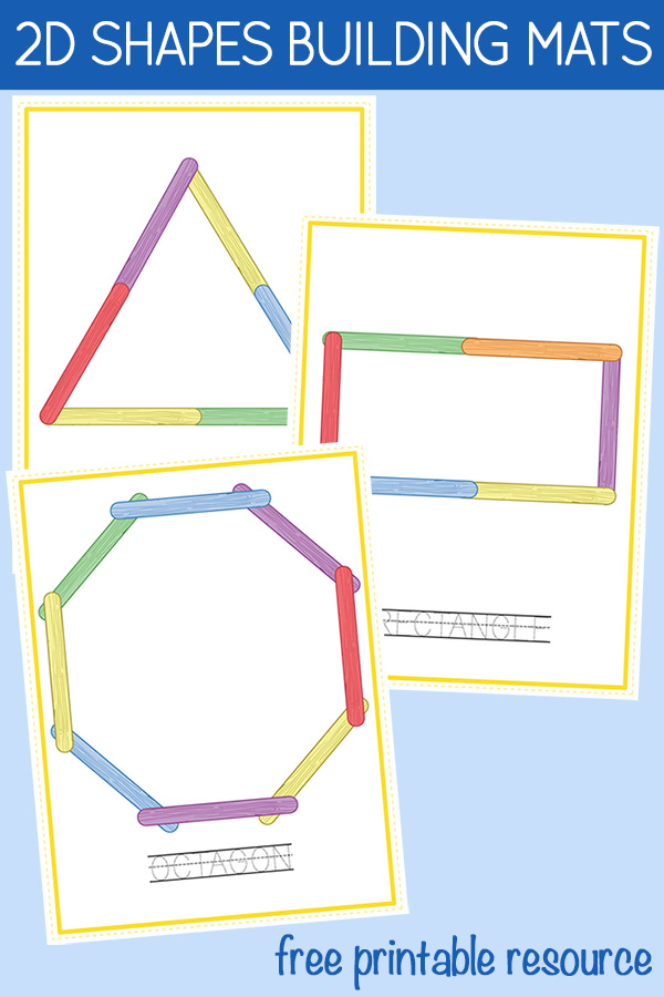 2D shapes free printable building mats