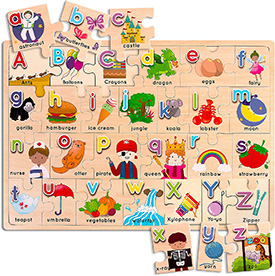 Alphabet Upper and Lowercase Matching Puzzle
