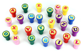 Self inking alphabet stamps